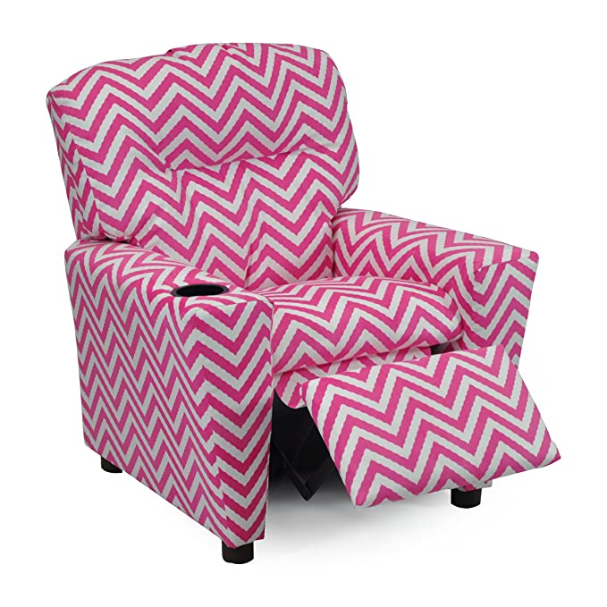 Amazon.com: Girls Pink Chevron Recliner Chair With Cupholder ...