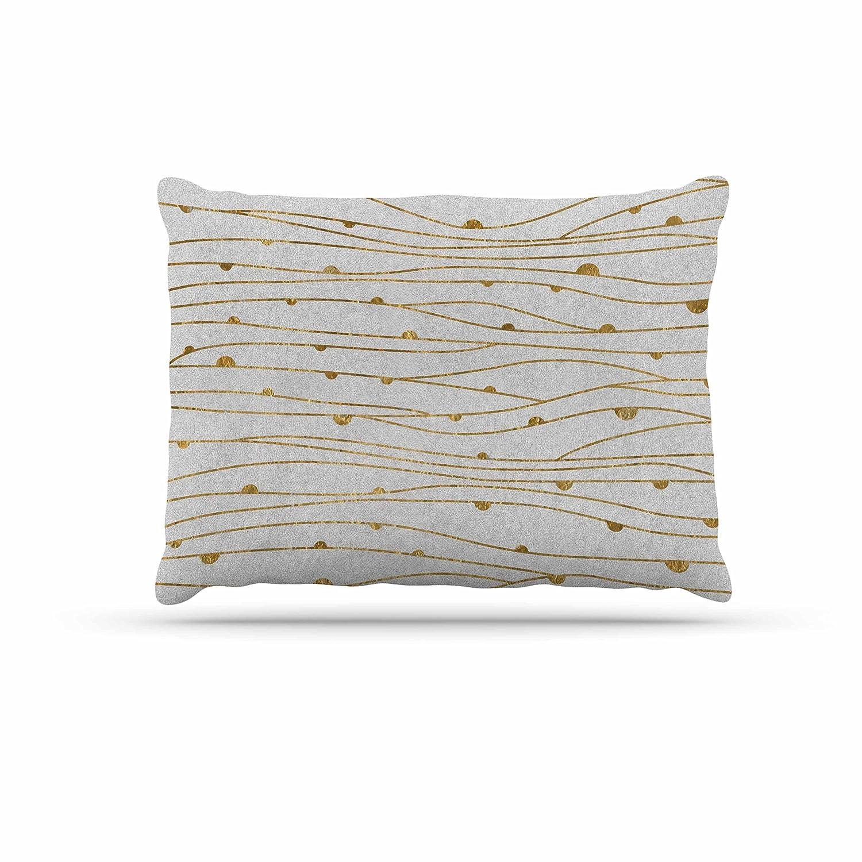 KESS InHouse 888 Design golden Stripes Pattern Abstract gold Dog Bed, 50  x 40