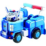 """Super Wings - Paul's Police Cruiser   Transforming Toy Vehicle Set   Includes Transform-a-Bot Paul Figure   2"""" Scale"""