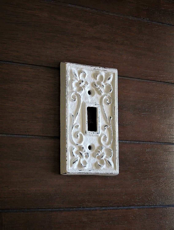 Single Light Switch Cover//Light Plate Cover//Cast Iron Plate//Fleur de Lis Design//Antique White or Pick Your Color