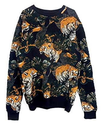 6bd7eae4fc43 Zara Men Tiger Print Sweatshirt 4087/403 - Black - XL: Amazon.co.uk ...