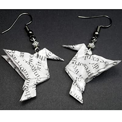 Paper Origami Hummingbird Black & White Book Page Earrings,Author Bookworm Geek 1st Anniversary Gift