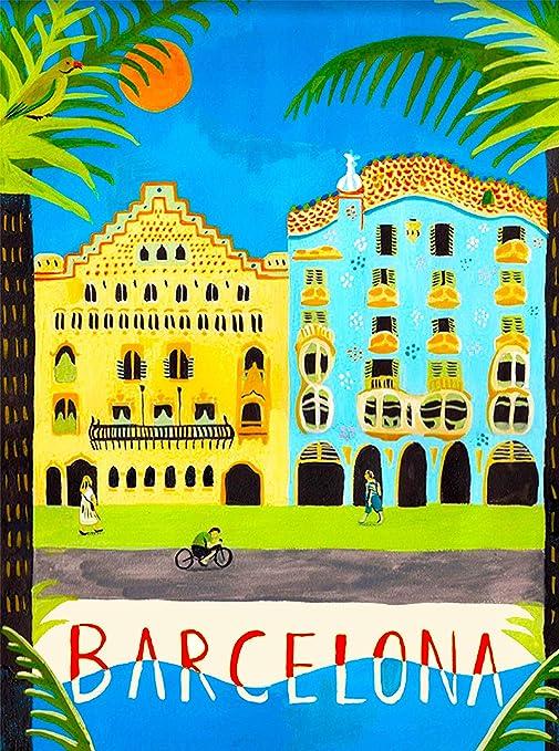 Barcelona España español Europea Viajes Europa Vintage anuncio Art Póster de decoración de la pared Póster coleccionable. Medidas 10 x 13,5 pulgadas: Amazon.es: Hogar