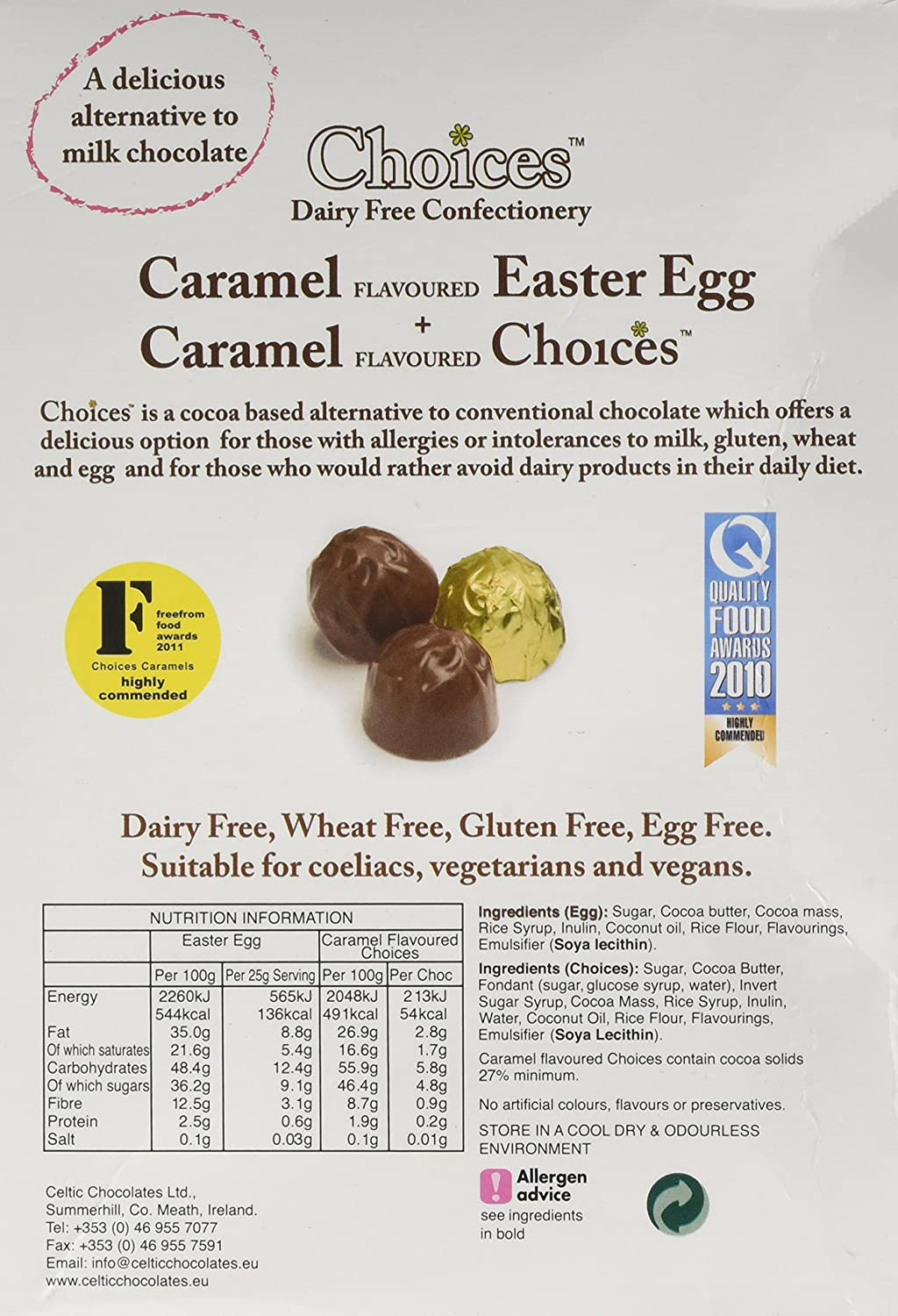 Choices easter egg milk chocolate caramels dairy free milk choices easter egg milk chocolate caramels dairy free milk chocolate alternative celtic chocolates 120g amazon grocery negle Image collections