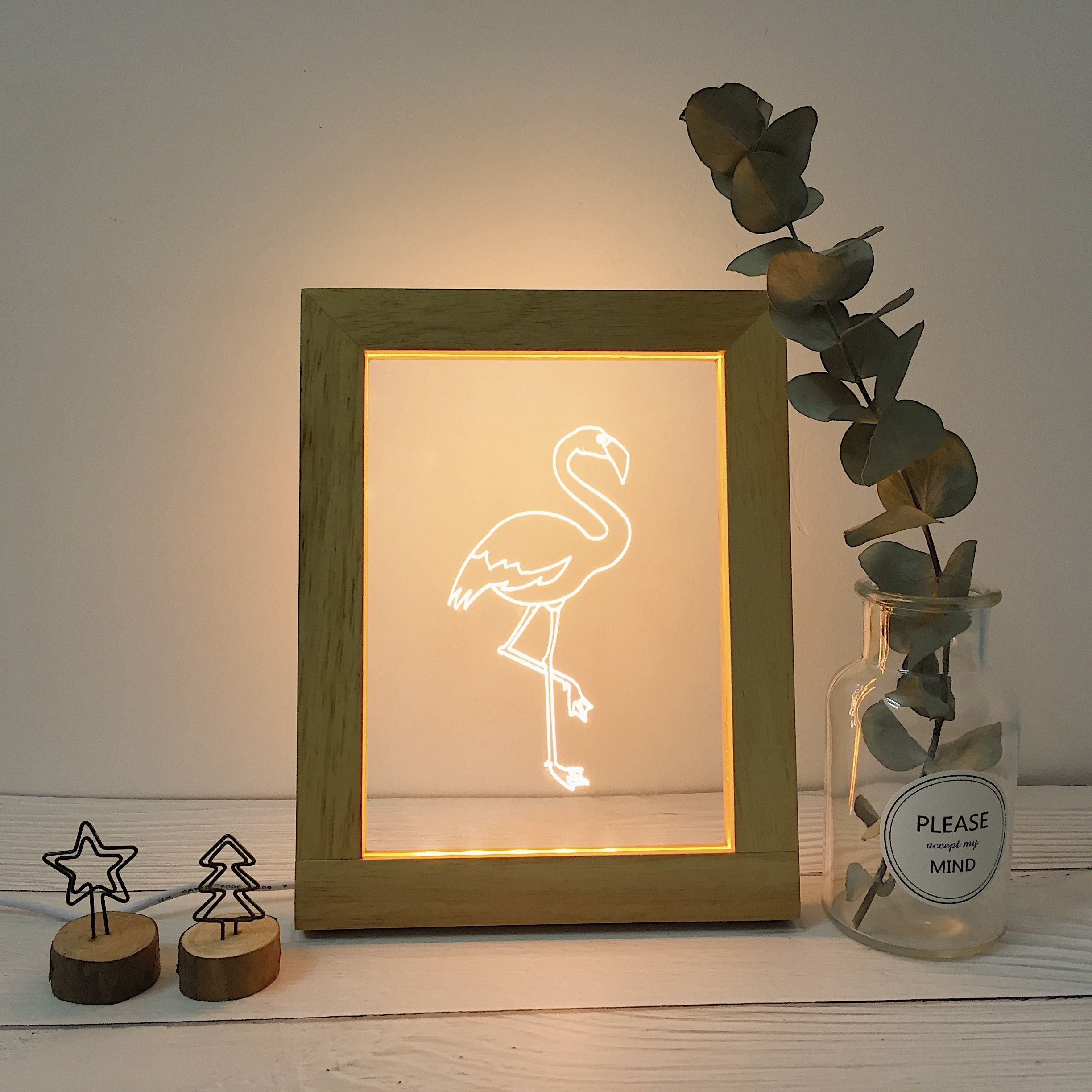 Wood Frame Night Lights, Fortune Cat Crane Panda Desk Lamp for Bedroom Living Room, Romantic Art Night Light for Kids and Adults, Decorate Holiday Party Atmosphere, 7.3x9.3x0.8 inches (Crane)