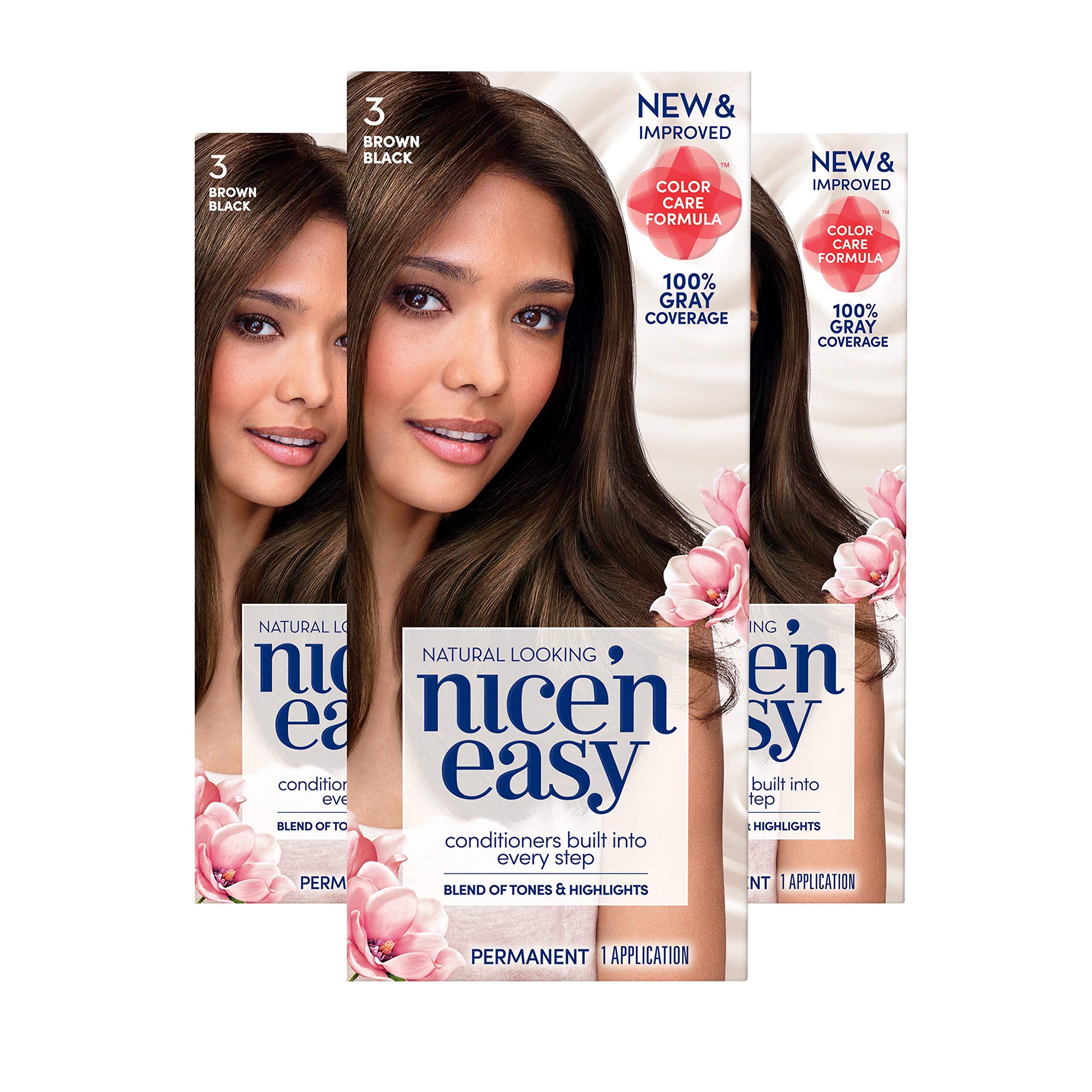 Clairol Nice 'n Easy Permanent Hair Color, 3 Brown Black, 3 Count, (Packaging May Vary) by Clairol