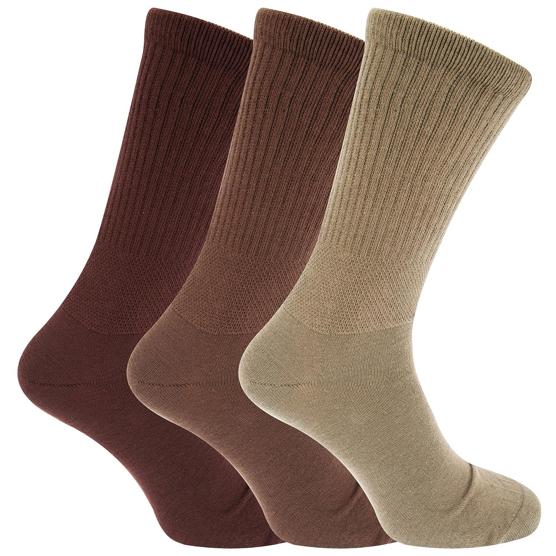 Calzini Comodi per Diabetici (3 paia) Assorted Brown EU 39-45 Universal Textiles UTMB386_1
