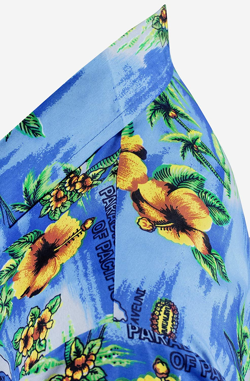 5XL Manica Corta Hawaii Tasca-Frontale Stampa Hawaiano Casuale Regular Fit Blu538 LA LEELA Shirt Camicia Hawaiana Uomo XS