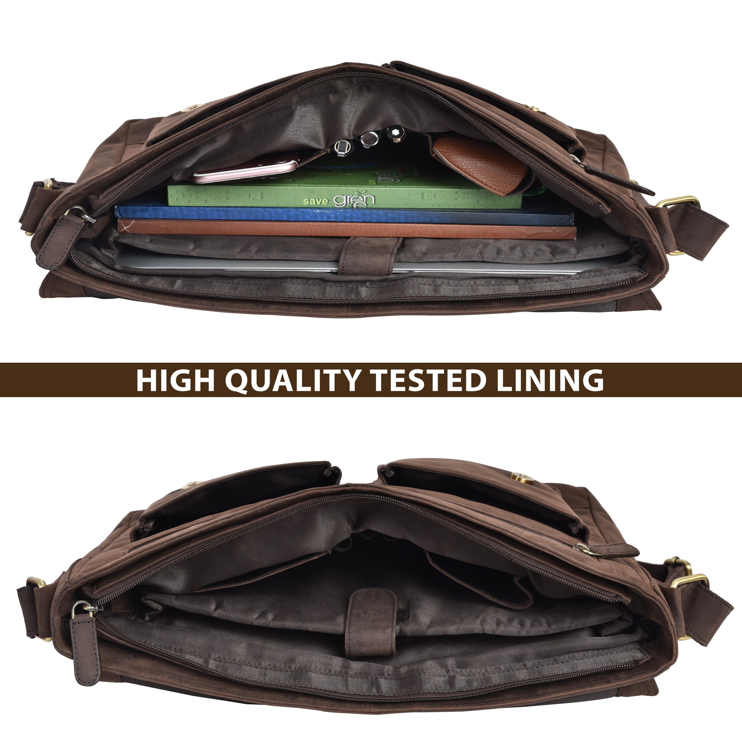Leather Messenger Bag for Men & Women 14inch laptop Bag for Travel College Work - Handmade by LEVOGUE (Brown Oily Hunter) by LEVOGUE (Image #5)