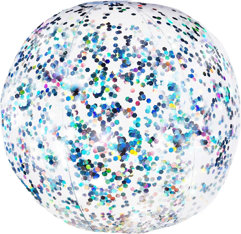 POOL CANDY PCL1752SJ Poolcandy Confetti Glitter Beach Ball Silver