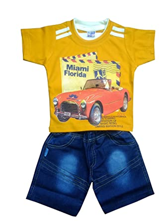 ada07004e01f MBR COTTON BABY BOYS T SHIRT AND JEANS (YELLOW, 9-12 months): Amazon.in:  Clothing & Accessories
