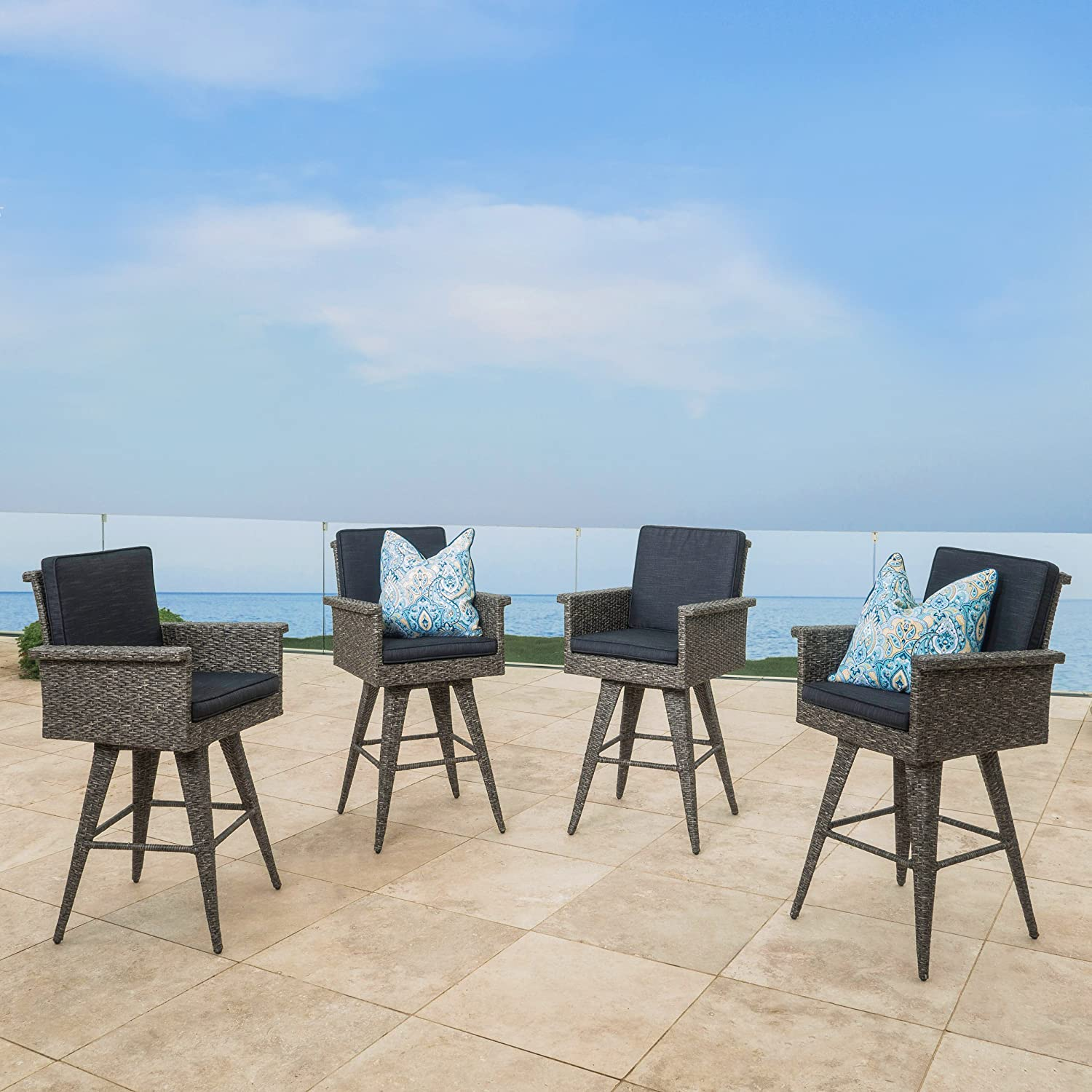 christopher knight home puerta grey outdoor wicker sofa set. Amazon.com : Puerta Outdoor Wicker Barstool With Cushions (Set Of 4) By Christopher Knight Home Garden \u0026 Grey Sofa Set
