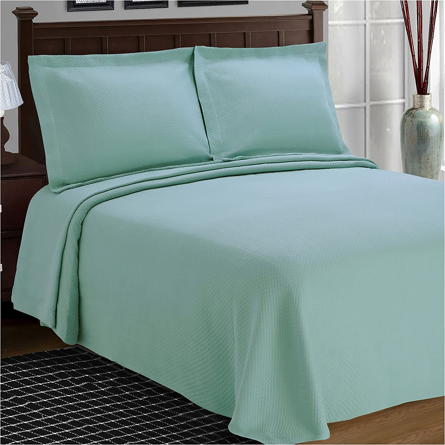 SUPERIOR Cotton Bedspread and Pillow Shams - Jacquard Matelassee Coverlet, Cotton Quilt, Aqua, Twin Size