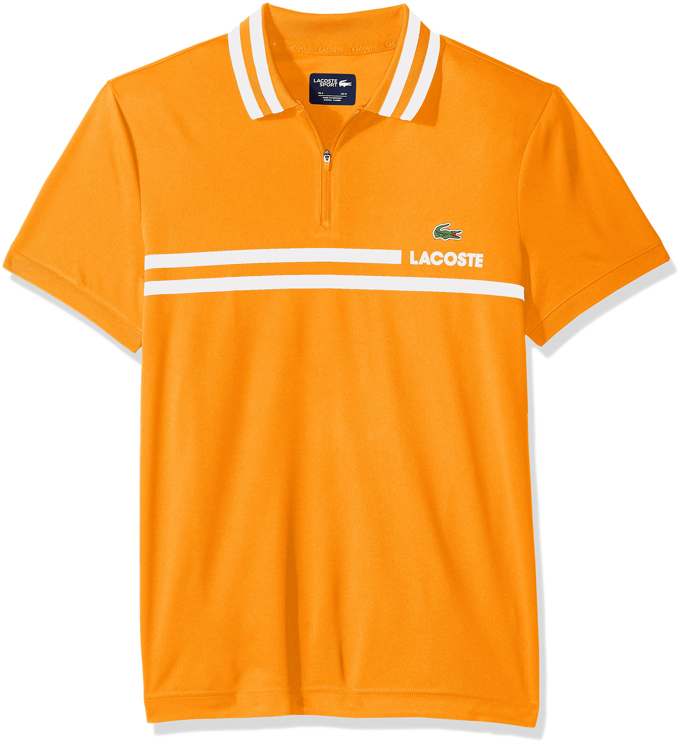 Lacoste Men's Short Sleeve Pique Fine Stripe with Jacquard Collar and Zip Placket Polo, DH3318, Apricot/White, X-Large