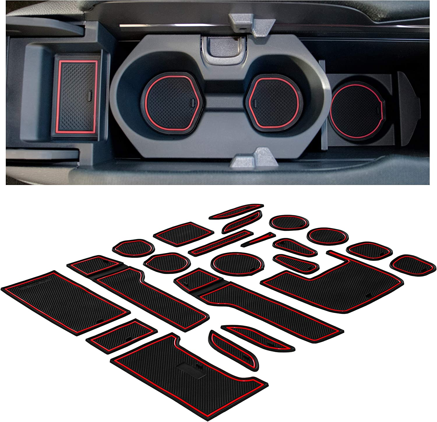 Hatchback CupHolderHero for Honda Civic Accessories 2016-2020 Premium Custom Interior Non-Slip Anti Dust Cup Holder Inserts Door Pocket Liners 21-pc Set Center Console Liner Mats Red Trim