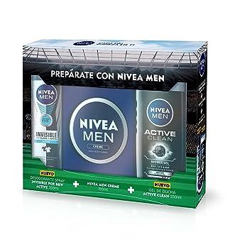 NIVEA MEN Estuche de regalo con set de 3, kit de regalo para hombre, pack de baño completo con desodorante, crema hidratante y gel de ducha para una ...