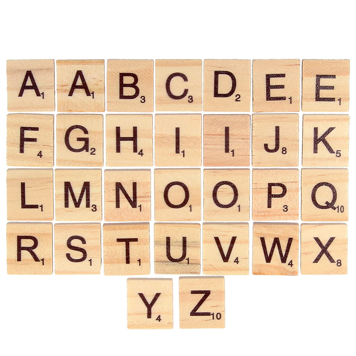 30Pc Wooden Alphabet Tiles | Wood Board Game Replacement Arts & Crafts Letters White Hinge
