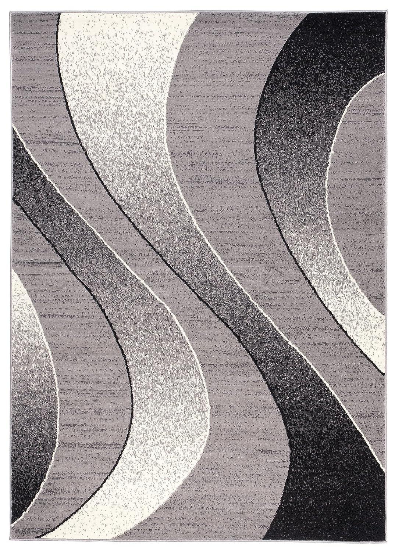 Tapiso Dream Teppich Kurzflor Grau Schwarz Creme Leicht Meliert Modern Abstrakt Wellen Streifen Muster Designer Wohnzimmer ÖKOTEX 220 x 300 cm