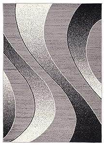 Tapiso Alfombra para Salón Cheap Ondas Gris Diferentes Dimensiones S-XXL (200 x 300 cm)
