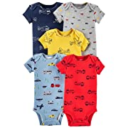 Carter's Baby Boys 5 Pack Bodysuit Set, Vehicles, 12 Months