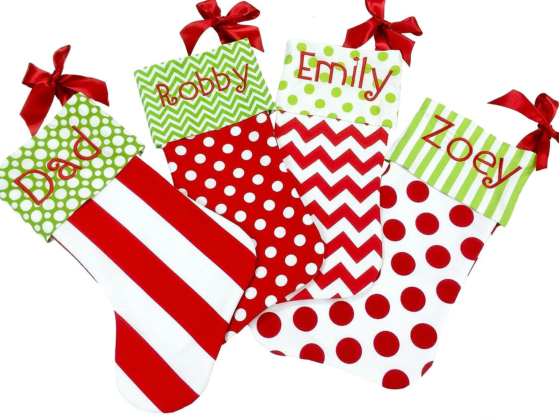 Amazon.com : Christmas Stocking, Red White and Green Christmas ...