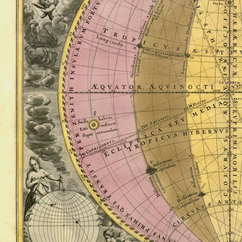 Poster de Mapa astrologico en tama/ño A4 con Marco Nacnic L/áminas con Mapa astronomico Antiguo