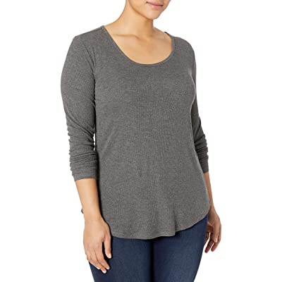 Brand - Daily Ritual Women's Plus Size Ribbed Long-Sleeve Scoop Neck Shirt: Clothing