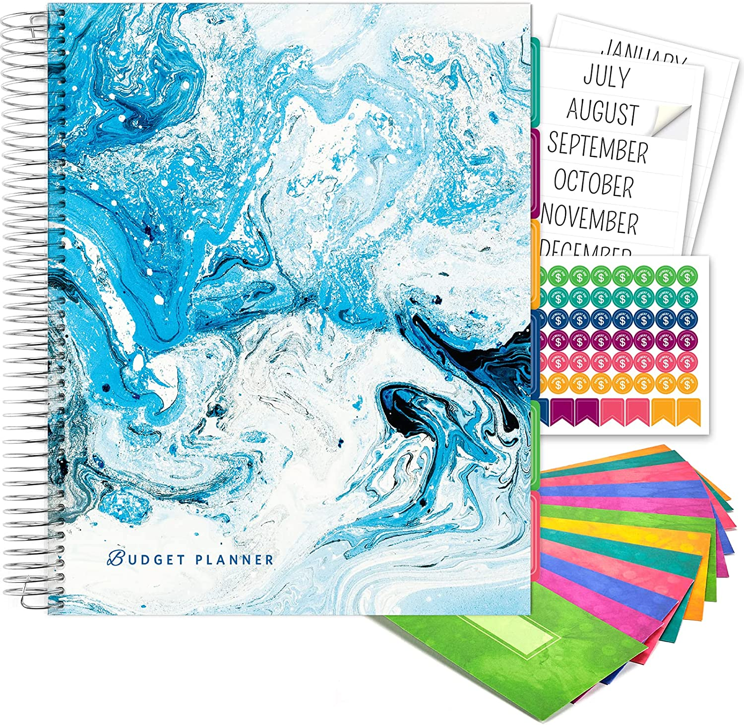 Budget Planner & Monthly Bill Organizer with 12 Envelopes and Pockets. Expense Tracker Notebook and Financial Planner Budget Book to Control Your Money. Large Size (8.5
