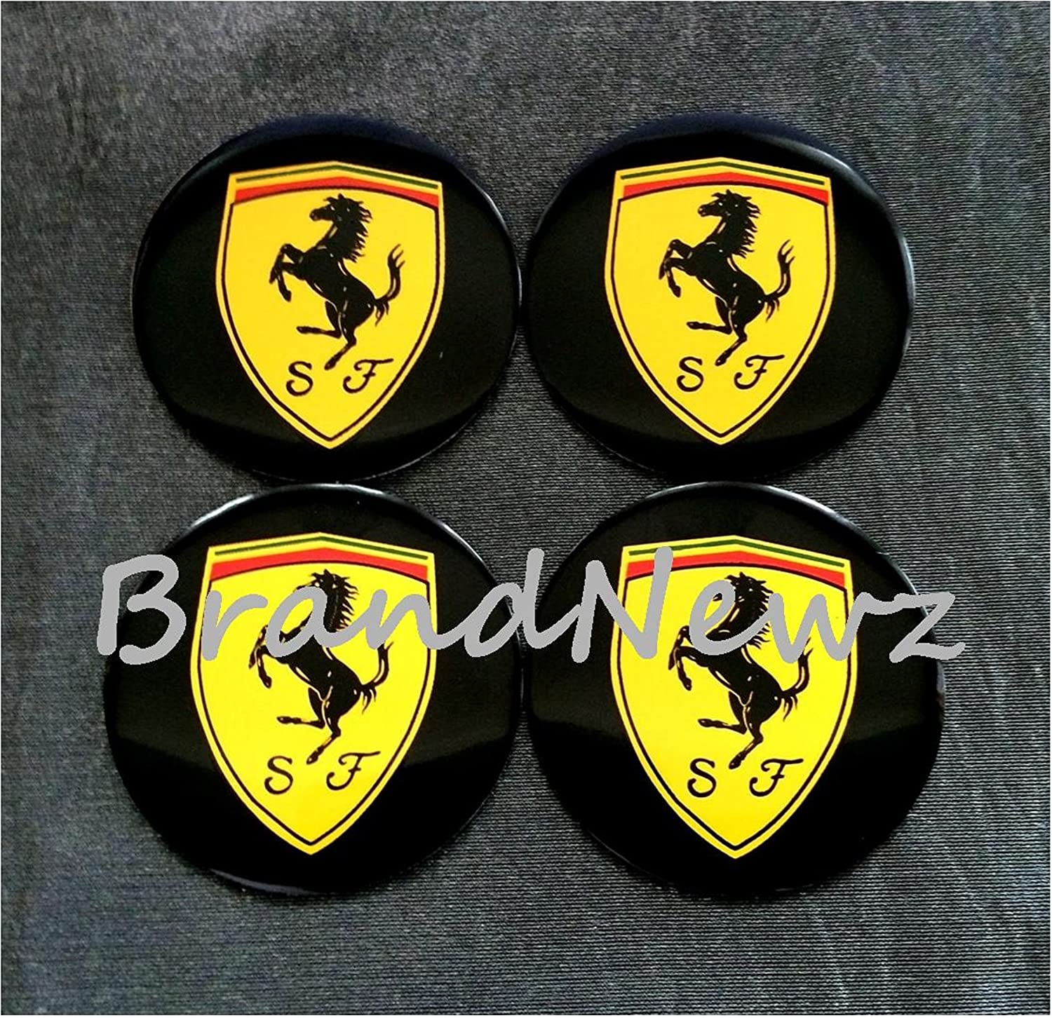 SET OF 4 55MM DOME FERRARI EMBLEM WHEEL CENTER CAP STICKER LOGO BADGE WHEEL TRIM