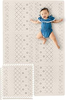 "Stylish Extra Large Baby Play Mat Soft Playmat, Thick Comfortable Foam. Six 24"" x 24"" Floor Tiles with Edges for Babies. Non-Toxic, No Odors, Spill Resistant, Durable."