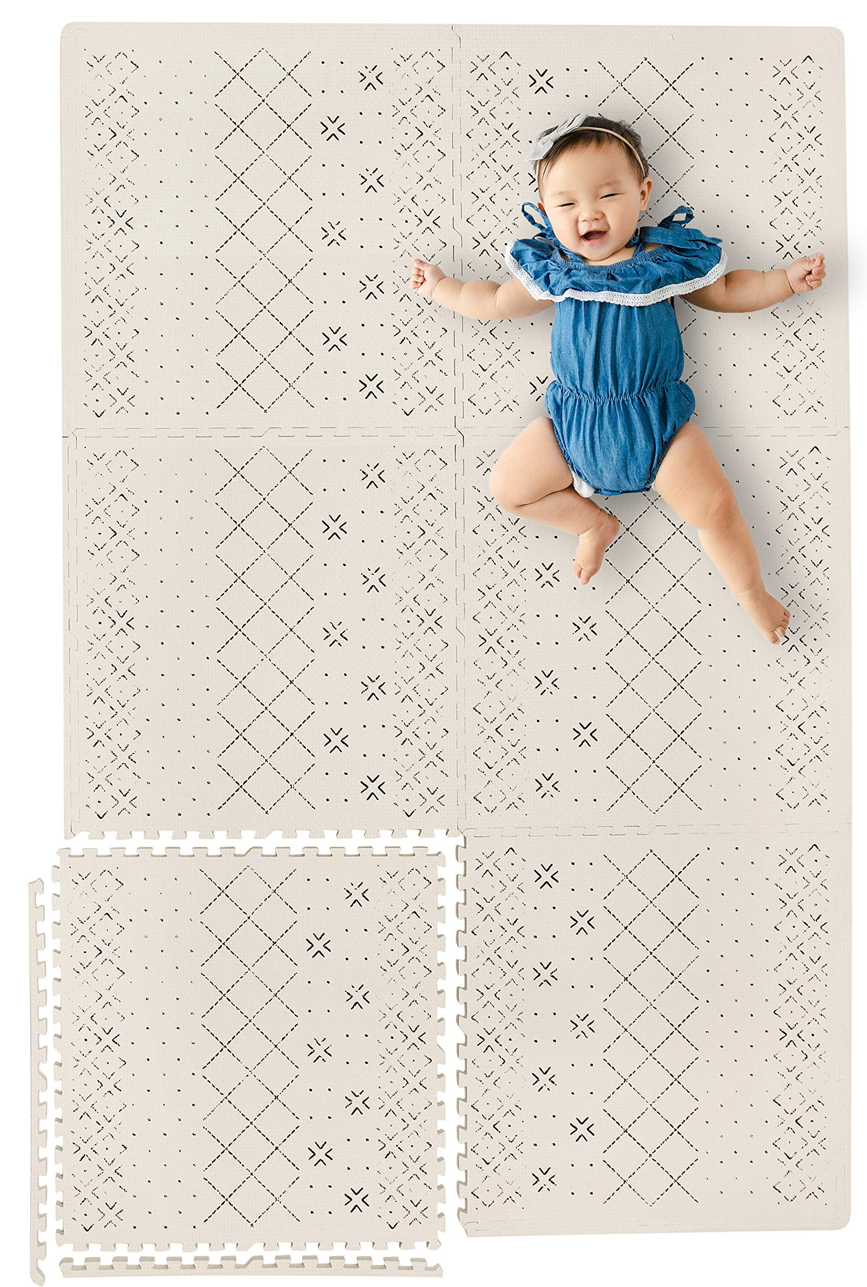 """Stylish Extra Large Baby Play Mat Soft Playmat, Thick Comfortable Foam. Six 24"""" x 24"""" Floor Tiles with edges for babies. Non-Toxic, No Odors, Spill Resistant, Durable. Yay Mats Puzzle Mat 4 Tummy Time"""
