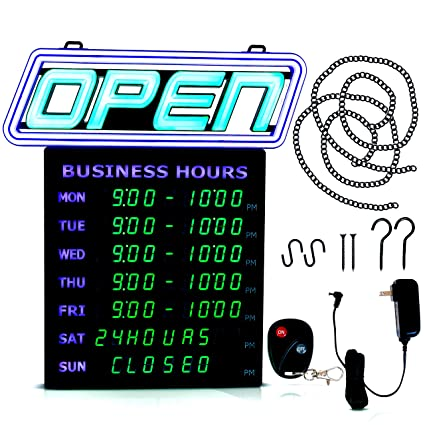 Letrero abierto con luces LED con horas de negocios ...
