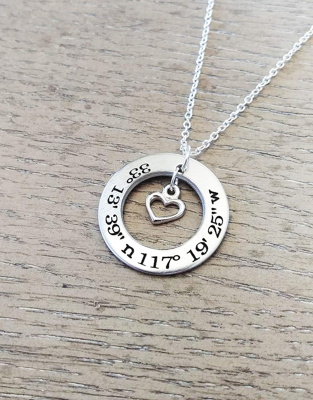 Coordinates Necklace Latitude Longitude Jewelry Compass Jewelry Latitude Longitude Necklace Compass Necklace Coordinates Jewelry