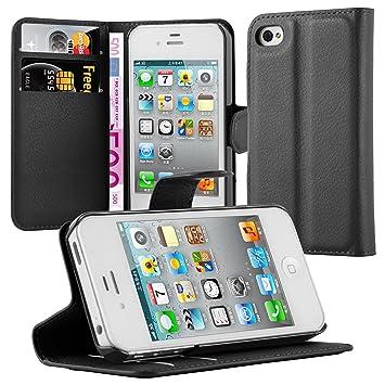Cadorabo Funda Libro para Apple iPhone 4 / iPhone 4S en Negro Fantasma – Cubierta Proteccíon con Cierre Magnético, Tarjetero y Función de Suporte – ...