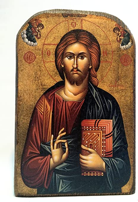 Icona di Gesù Cristo in Legno, Greca Cristiano ortodossa, Fatto a Mano /  MP2: Amazon.it: Casa e cucina