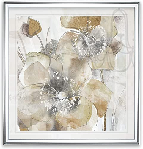 Renditions Gallery Taupe Spring Poppy II Flower Art Framed Abstract Artwork Modern Home Wall Decor Painting Giclee Canvas Print