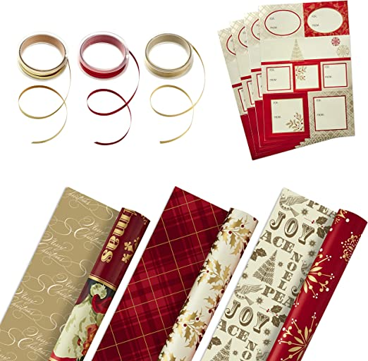 Amazon Com Hallmark Reversible Christmas Wrapping Paper Set With Ribbon And Gift Tag Stickers Traditional Red And Gold 3 Rolls Of Wrapping Paper And Ribbon Kitchen Dining