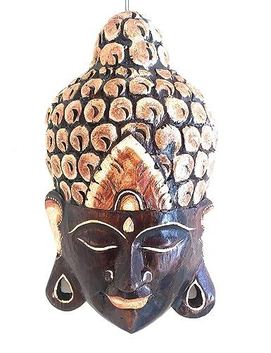 OMA Meditation Buddha Mask Wood Carved Wall Hanging Decor Praying Buddha Statue, LG Size Federal Trademark Brand