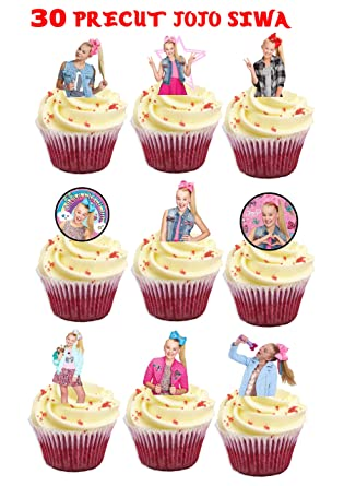 30 X JoJo SIWA Bows Stand UP Precut Edible Cupcake Topper Birthday
