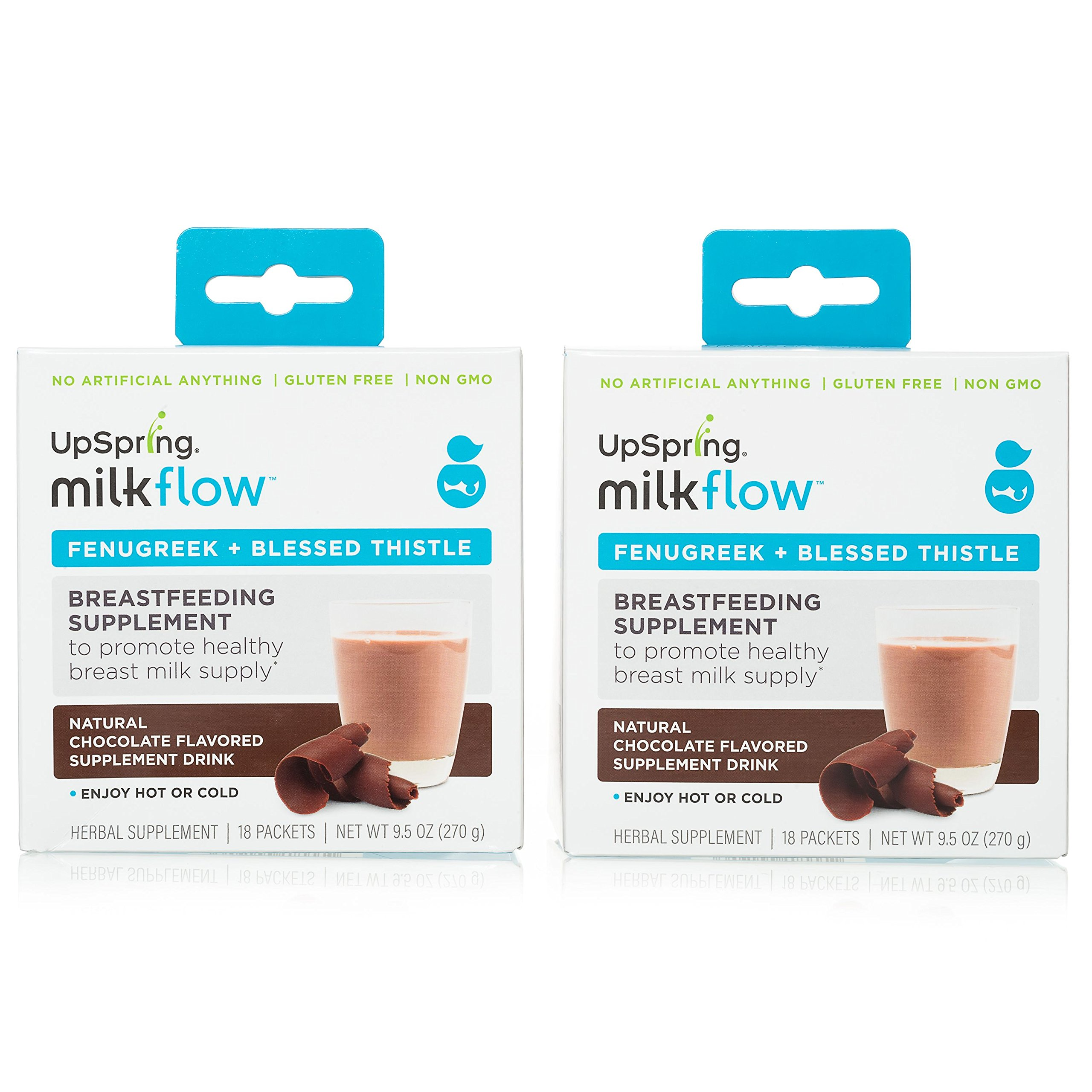 UpSpring Milkflow Fenugreek and Blessed Thistle Chocolate Powder Drink Mix, 2 Packs of 18 each box