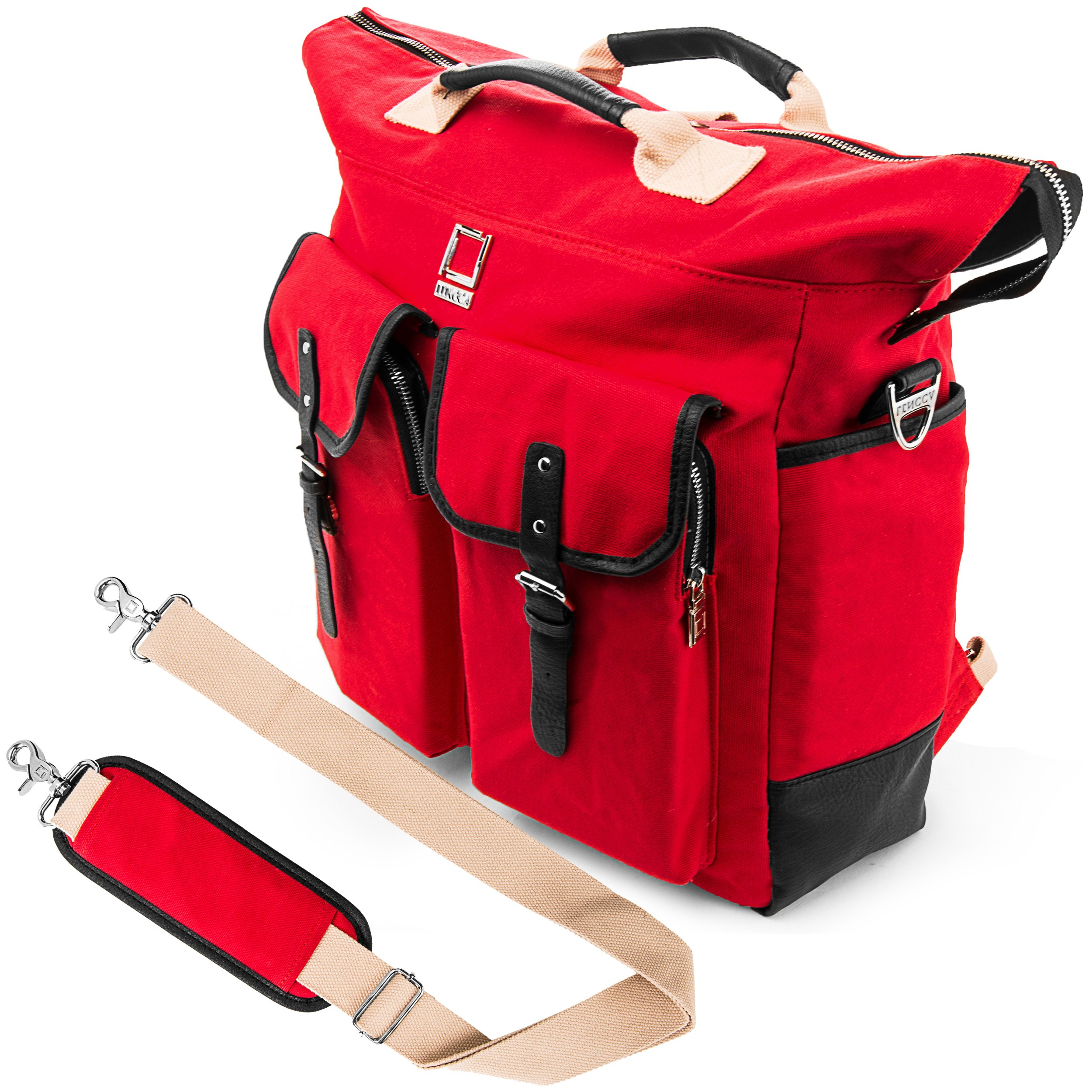 Lencca Universal Hybrid 3 in 1Design Carrying / Tote / Messenger / Crossbody / Backpack / Shoulder Bag with Removable Strap for ASUS X551MAV EB01 B series Fit 15.6 inch Windows Notebook / Google Chromebook / Ultrabook / Laptop (Red)