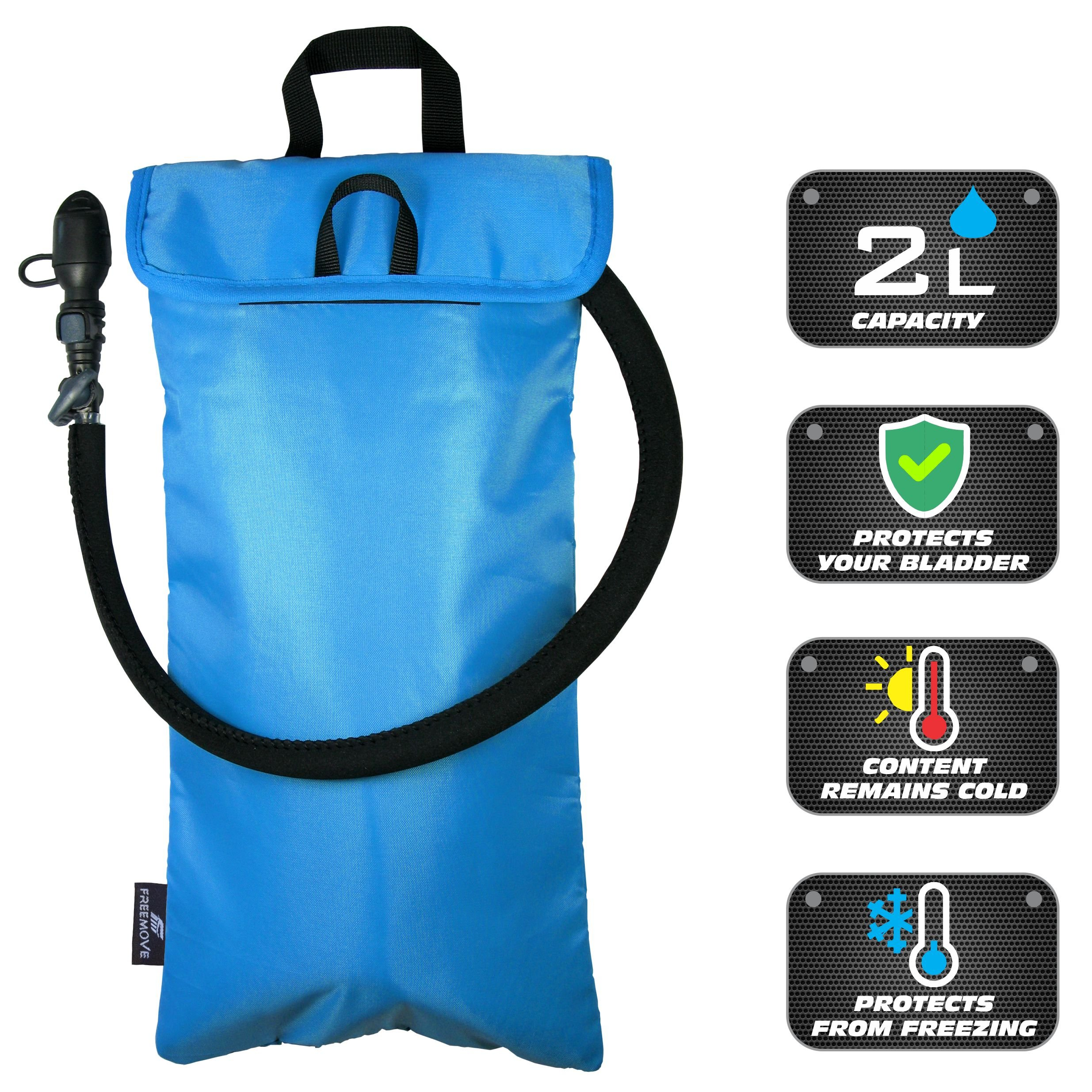 FREEMOVE Cooler Bag & Protective Sleeve 2in1 for Hydration Water Bladder up to 2L | KEEPS WATER COOL & PROTECTS YOUR BLADDER | Lightweight & Water Resistant | Fits to all - BLADDER IS NOT INCLUDED!