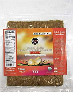 product image for WrawP Curry Coconut Wraps 1 Pack Organic Coco Nori Curry (Raw Vegan Paleo Gluten Free wraps) Made in the USA from young Thai Coconuts Sustainable Plant-Based