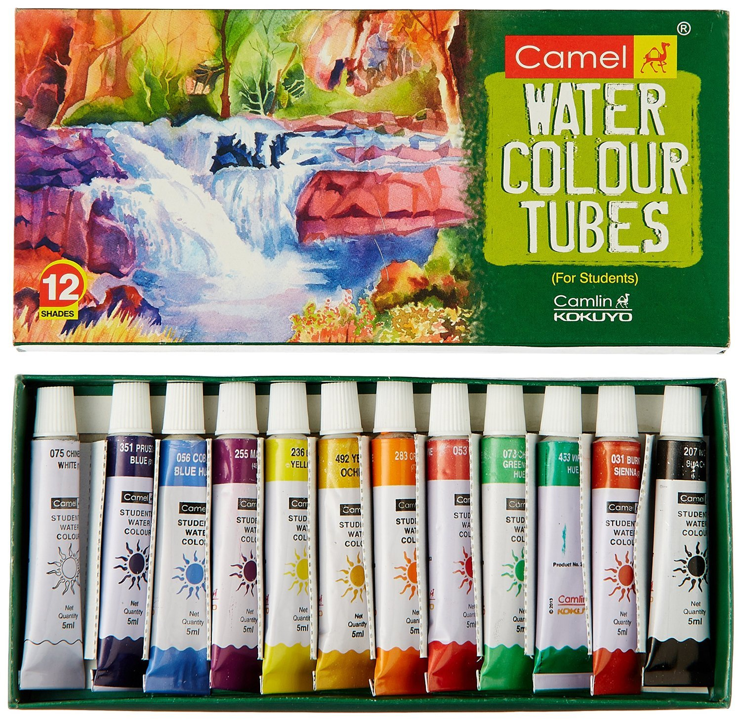 Camel Student Water Color Tube - 5ml each, 12 Shades (Pack of 2)-Total 24 Shades -free Shipping..