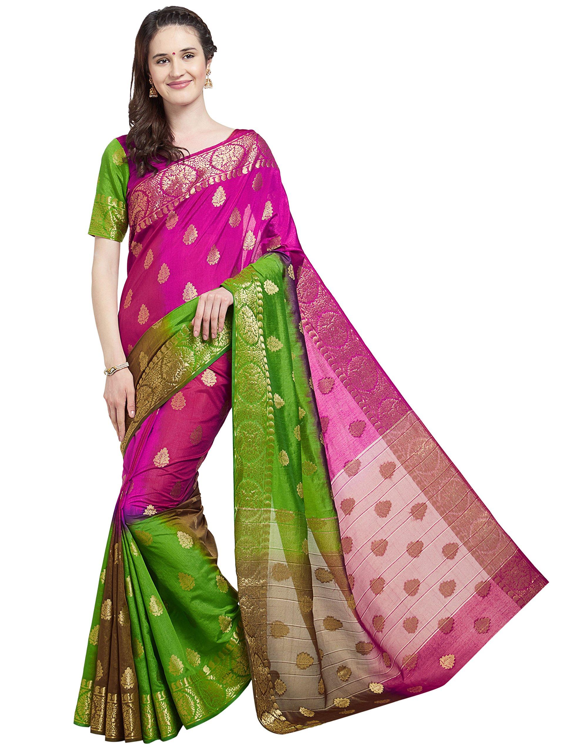Viva N Diva Saree's for Women's Dark Pink & Green Color Banarasi Art Silk Saree with Unstitched Blouse Piece,Free Size