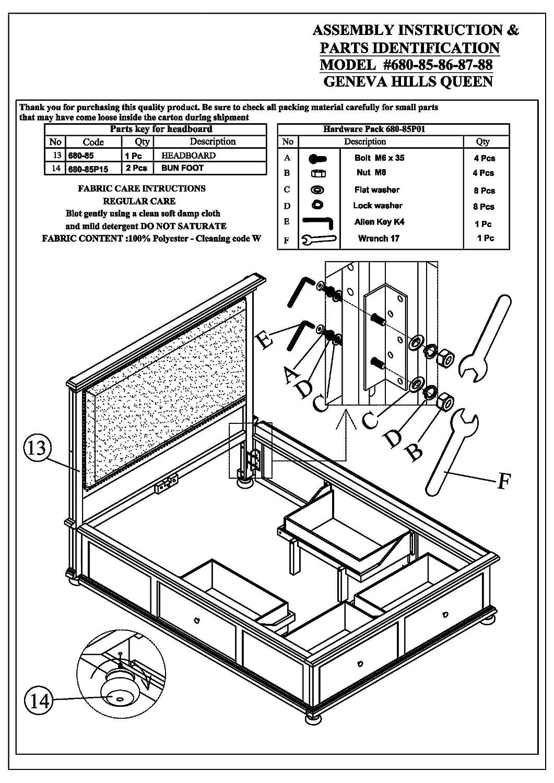 Amazon Com Jofran 680 85868788kt Geneva Hills Queen Storage Bed