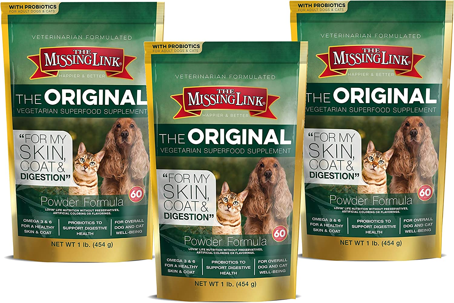 The Missing Link Well Blend Food Sensitive Skin, Coat and More Nutritional Supplement for Dogs and Cats, 1 Pound, 3 Pack