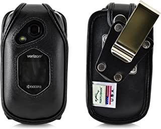 product image for Turtleback Fitted Case for Kyocera DuraXV LTE Verizon Flip Phone Black Leather with Heavy Duty Ratcheting, Removable Metal Belt Clip Holster FITS ONLY Kyocera DuraXV LTE E4610 Mil Spec 810G PTT