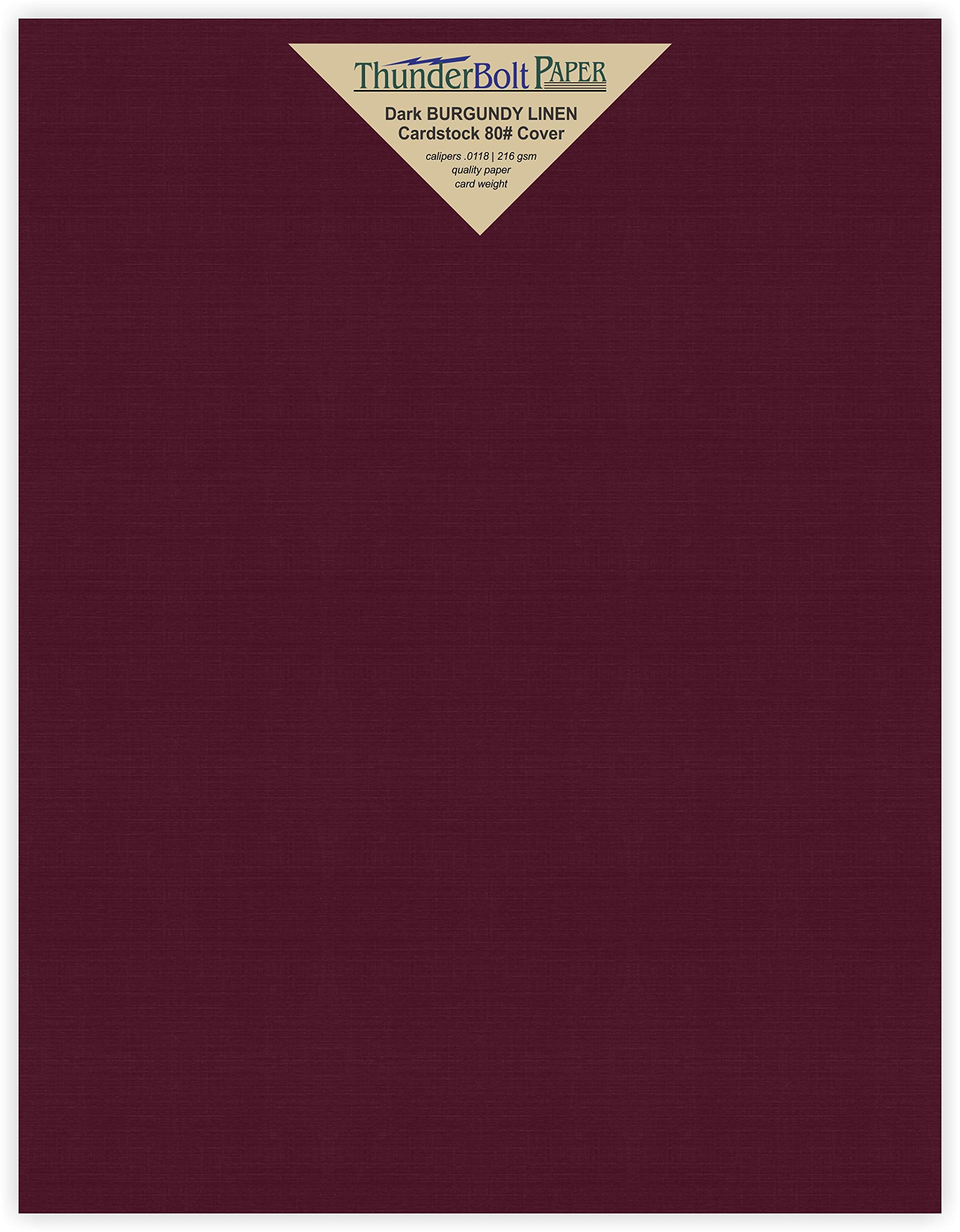 25 Dark Burgundy Linen 80# Cover Paper Sheets - 8.5X11 Inches Standard Letter|Flyer Size - 80 lb/pound Card Weight - Fine Linen Textured Finish - Deep Dye Quality Cardstock by ThunderBolt Paper