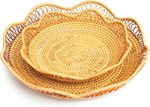 Wicker Bread Basket Woven Food Serving Fruit Candy Cake Or Storage for Key Holder fruit bowls Wicker Bread Basket Woven Food Serving Fruit Candy Cake Key Holder fruit bowls Rattan Basket Set of 2